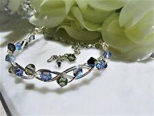 Swarovski Aquamarine Shimmer/Smokies Crystals Silver Wire Wrapped Bracelet