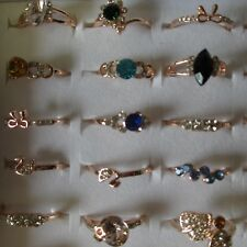 Wholesale & Job Lots 36 Rings Rose Gold Diamonte From 12 - 19 Free Ring Box