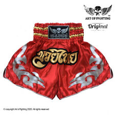 Kids Muay Thai Shorts Art of Fighting. Red Satin Age 3-12. Handmade in Thailand