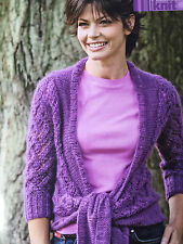 KNITTING PATTERN Ladies Cardigan 3/4 Sleeved Lace Design Tie Front Rowan PATTERN
