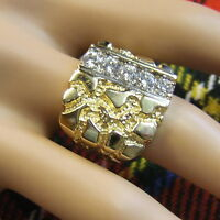 9 ct gold second hand gents heavy fancy stone ring