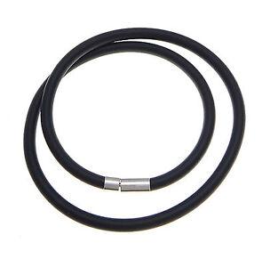 Kautschuk Hals Kette 45cm lang Ø 2/3/4/5mm Matt Schwarz Steckverschluss Halsband