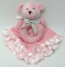 Carters Pink Plush Teddy Bear Rattle Lovey Security Blanket