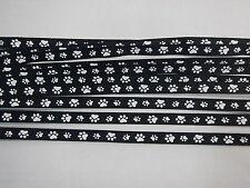 Ribbon Grosgrain 10mm Paw Print Black/White x 5 metres