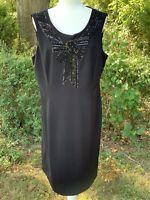 Alex Marie Black Sequin Beaded Size 16 XL Large Petite Sleeveless Cocktail Dress