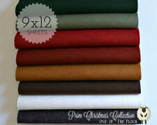 "Prim Christmas Felt Collection, Merino Wool Blend Felt, Eight 9"" X 12"" Sheets"
