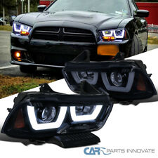 For Dodge 11-14 Charger Glossy Black Iced LED Projector Headlights Head Lamps