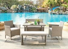 Grey Rattan Garden Set Chairs Bench Table & Cushions Outdoor Conservatory Patio