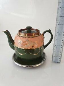 Antique Royal Stanley Green & Peach Handpainted Tea Pot & Stand