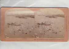 WORLD'S COLUMBIAN EXPO. THE CROWD ON THE LAGOON. ANTIQUE STEREO VIEW PHOTOGRAPH