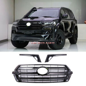 For Toyota Land Cruiser LC200 2016-2020 Glossy Black Front Bumper Grille Grilles