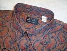 MINE 100% Cotton Navy Paisley Print Sport Shirt  NWT Large $125