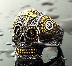 Men's Motorcycle Harley Punisher 3D Skull Cross Theme Biker Ring Size 8 9 10 13