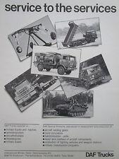 9/1984 PUB DAF TRUCKS MILITARY TRUCKS CAMIONS MILITAIRES PORTE CHAR FRENCH AD