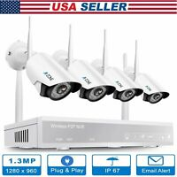 A-ZONE 1080P 4CH HD WiFi Security Camera System Wireless Outdoor IP CCTV NVR Kit