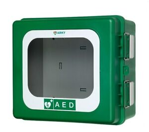 ARKY Polar Green Outdoor AED Cabinet with Inlay, Heating Element & Alarm (24V)