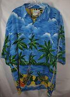 Reservoir Hawaiian Aloha Camp Lounge Ocean Beach Palm Trees Button Up Men's 2XL