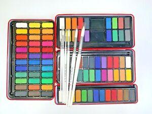 6 Brush Set Major Brushes Artist Watercolour Paint Tin 12,18,24,36 Blocks