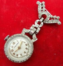 Serviced~1950s COQ-D'OR Swiss Silver & Rhinestone~Nurse-Lapel-Brooch-Watch