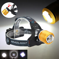 8000LM T6 LED Zoomable Flashlight Headlamp Headlight Head Hunting 18650 Torch