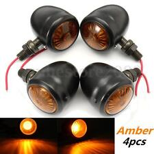 4x Metal Motorcycle Turn Signal Brake Light Bulb Indicator Lamp Amber For Harley