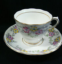 Colclough Longton England Bone China Flower pattern Tea Cup & Saucer set
