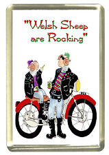 Welsh Biker Sheep Fridge Magnet - Wales/Cymru