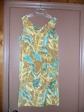 Womens NWT KATHIE LEE Sz 6 4 S Tropical Neutrals Blue/Taupe Frock V-Neck Dress