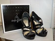 Baby Phat New Womens Black Tan Juno 9 M Wedges Heels Shoes