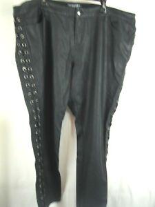 Tripp  NYC Daang Goodman SZ 26 Faux Leather Pants Black  Side Laceup Guc!