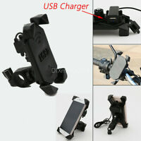 Motorcycle Bike ATV Handlebar Cell Phone GPS Mirror Mount Holder w/ USB Charger
