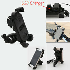 Black Universal Motorcycle Bike Handlebar Cell Phone Holder USB Charger 3.5-7""