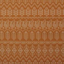 "WAVERLY MARSALA DOVE ORANGE CHICKEN TRIBAL UPHOLSTERY DRAPERY FABRIC BTY 55""W"