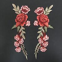 1 paar Blumen Rosen Aufnäher Bügelbilder Patches Patch Bügelflicken 28.5*11 Y1Z4