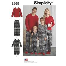 Simplicity SEWING PATTERN 8269 Childs Sleepsuit & Adult Pyjama Pants & Top