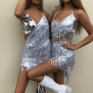 Sequined sexy dress Outfit Top Hip Scarf Wrap full Latin Skirt Festival Costume