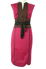 PHASE EIGHT Women's Pencil Dress Pink Mix Detailed Lined Satin Like Belt Size 12