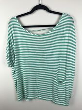 Jessica Simpson Womens Slouch Green White Open Back Cuff Sleeve Shirt Size Large