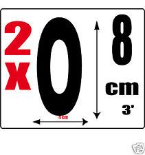 lot 2 lettres [O] Sticker autocollant noir hauteur 8cm Lettre adhésive en vinyle