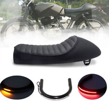 Black Cafe Racer Hump Seat 230mm Frame Hoop Loop LED Turn Signal Light Strip