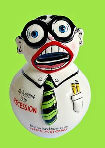 My Hairline in Recession Waistline Inflation Ceramic Man Coin Bank Kreiss Psycho