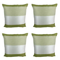 "SET OF 4 - Green / Cream Stripe Cushion Covers 17 x 17"" Inch / 43 x 43 cm"