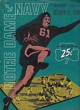 1939 Notre Dame v Navy Team Football Program Cleveland EX