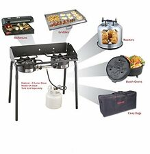 Double Burner Gas Propane Cooker Outdoor Camping Modular Picnic Cooking Stove