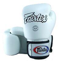 FAIRTEX MUAY THAI KICK BOXING GLOVES WHITE COLOR BGV1 TIGHT FIT SPARRING MMA