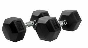 New Rubber Coated Hex Dumbbell Hand Weight Lifting, Aval15-30 lbs, Single/Pair