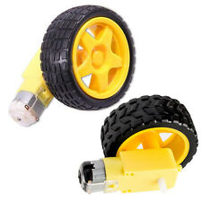 2 Pcs Smart Car Robot Plastic Tire Tyre Wheel + DC 6V Gear Motor Set for Arduino