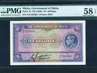 Malta:P-19,10 Shillings,1940 * King George VI * RARE * PMG AU 58 EPQ *