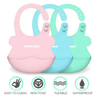 Baby Bibs Boy Girls Silicone Waterproof Adjust Feeding Towel Bib Cloth Cartoon