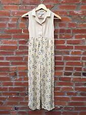 Vintage 90s Jumpsuit Size 16 Girls Yellow Linen Blend Button Floral Pants (909)